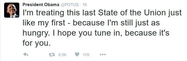 Trước giờ đọc Thông điệp Liên bang, Tổng thống Obama đã chia sẻ trên Twitter rằng ông coi Thông điệp lần cuối cùng này cũng giống như lần đầu tiên, bởi ông vẫn còn nhiều điều mong mỏi.