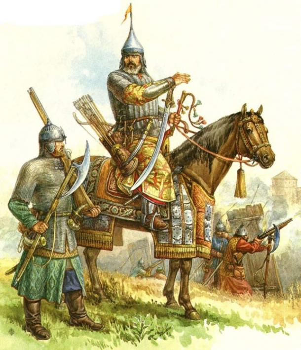 Những thanh kiếm và mũ sắt,..trong kho vũ khí là những vật bất ly thân của kỵ sĩ Nga thời Sa hoàng.