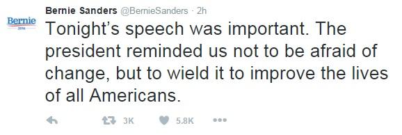 Trả lời phóng viên USA Today, ứng viên Tổng thống của đảng Dân chủ Bernie Sanders nhận xét bài phát biểu của ông Obama xuất sắc. Còn trên Twitter của mình, ông Sanders viết: Bài phát biểu ngày hôm nay rất quan trọng. Tổng thống đã nhắc chúng ta nhớ lại rằng, chúng ta không sợ thay đổi, mà nên sử dụng nó để cải thiện cuộc sống của người dân Mỹ.