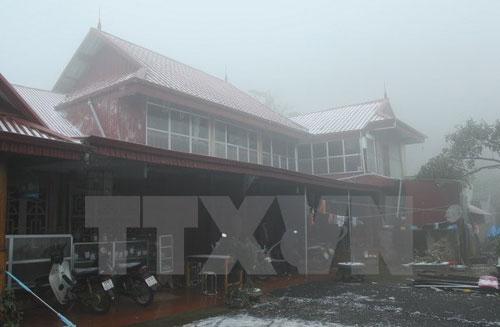 Tuyết rơi tại huyện Vân Hồ, tỉnh Sơn La. (Ảnh: Lê Hữu Quyết/TTXVN)