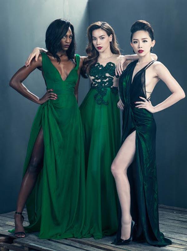 Có cơ hội đọ sắc cùng Á quân Mame Adjei - nữ hoàng cuối cùng của American's Next Top Model, Hà Hồ, Tóc Tiên đều thể hiện rõ sự sang trọng, quyền lực từ ánh mắt, cách tạo dáng.