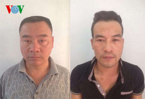 Nguyễn Văn Thanh và Võ Tá Hảo tại trụ sở cơ quan công an. Ảnh: VOV.