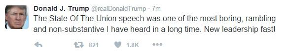 Donald Trump chê Thông điệp Liên bang của Obama là một trong những bài phát biểu tẻ nhạt, lan man và lỏng lẻo nhất mà tôi từng nghe trong suốt một thời gian dài