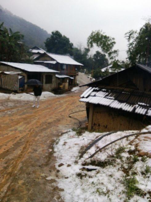 Tuyết rơi phủ trắng mái nhà của người dân Yên Bái. Ảnh: VOV.