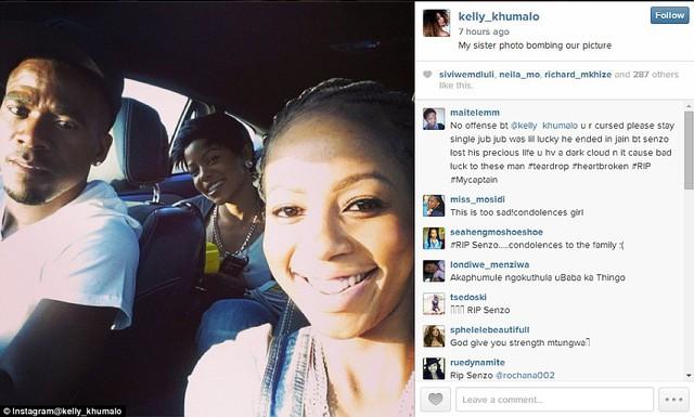 Ca sỹ Kelly Khumalo chia sẻ bức ảnh chụp chung với Senzo, chỉ 1 ngày trước khi thủ thành này bị bắn chết