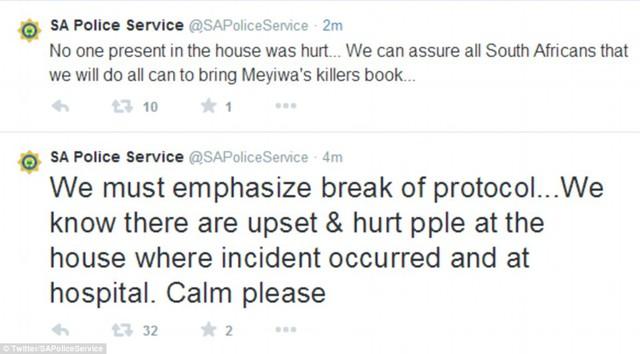 Thông báo của cảnh sát Nam Phi trên Twitter