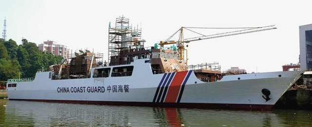 Hình ảnh tàu hải cảnh mới của Trung Quốc tại nhà máy đóng tàu Hoàng Phố.