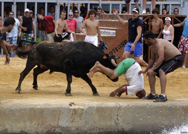 Một người đàn ông bị bò húc tại lễ hội rượt bò Bous a la Mar ở thị trấn ven biển Denia, Tây Ban Nha.