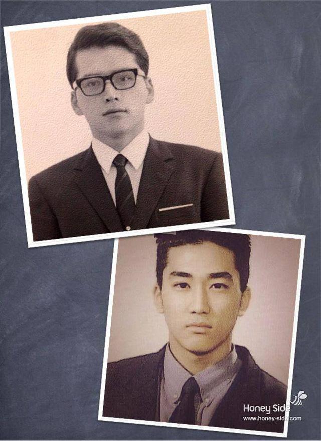 Quả thật vẻ đẹp trai của tài tử Hàn được di truyền từ người bố điển trai.