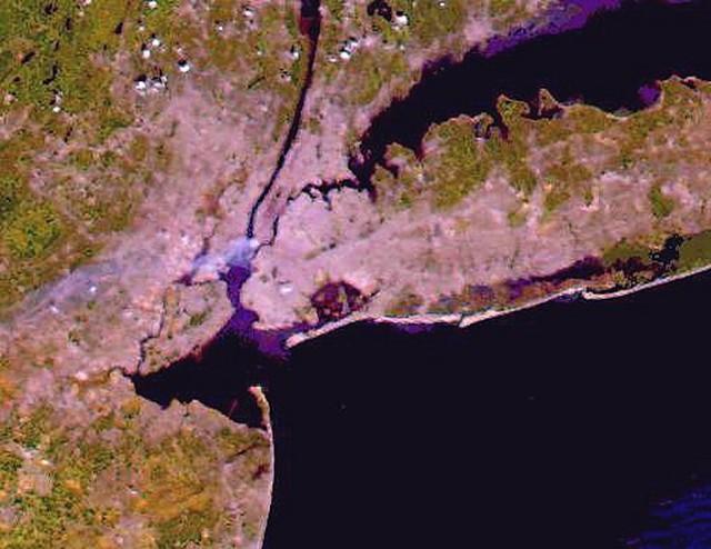 NASAs Terra Satellite True-Color Image, taken Sept. 12, 2001 by the Moderate-resolution Imaging Spectroradiometer (MODIS) instrument aboard NASAs Terra Satellite.