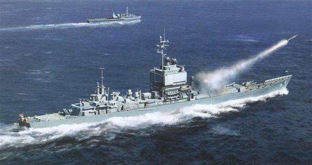 Vũ khí trang bị của tàu gồm 1 ray phóng đôi để phóng tên lửa hạm đối không Talos; 2 ray phóng đôi của tên lửa RIM-2 Terrier; 2 hải pháo 127mm và 6 bệ phóng rocket chống ngầm ASROC