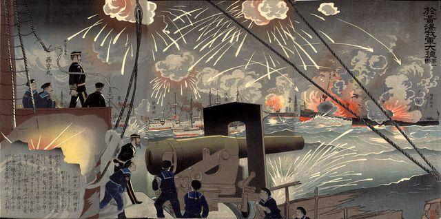 Hải chiến Hoàng Hải. Tranh minh họa