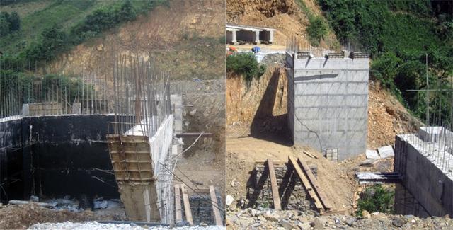 Nhiều hạng mục công trình được làm dở dang...nhưng vãn không có bóng dáng người công nhân và máy móc nào.