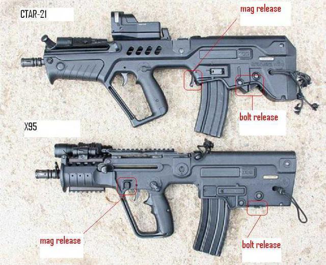 Nút tháo hộp tiếp đạn (mag release) và nút tháo hộp khóa nòng (bolt release) của CTAR-21 và Micro Tavor (X95).