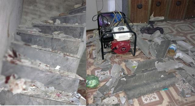 Cầu thang lên tầng 2 và phòng tầng 1 vẫn còn nhiều mảnh vỡ từ vụ nổ ở tầng 2 bay xuống, dính đầy máu của nạn nhân.