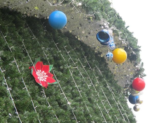 Bên trên các tầng cây thông được trang trí với 2000 bộ đèn nháy, hàng nghìn quả bóng cùng chuông và phần quà nhỏ, trông rất hấp dẫn, lung linh.