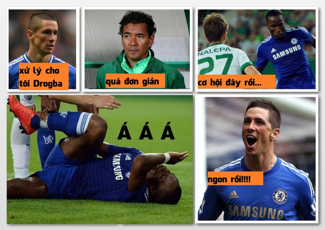 Khổ thân Drogba bị Torres chơi xỏ