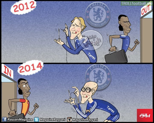 Khi Drogba ra và trở lại ,Torres vẫn ở Chelsea và ngày càng yếu đuối