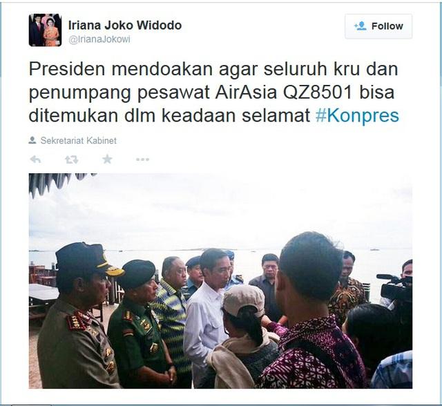 Twitter của đệ nhất phu nhân Indonesia