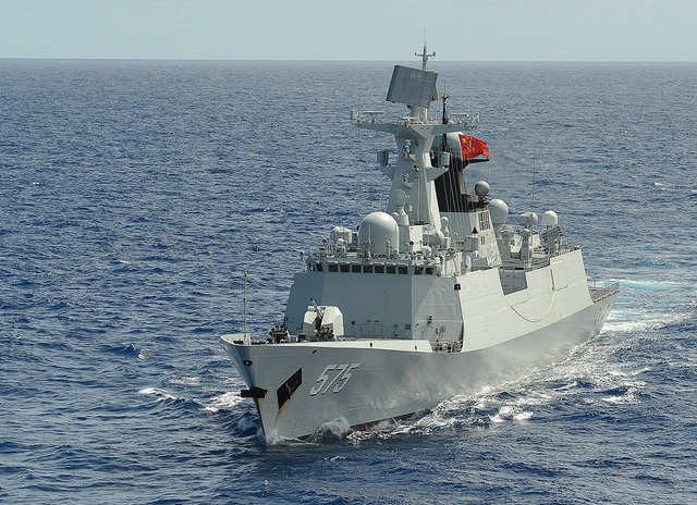 Peoples Liberation Army (Navy) frigate PLA(N) Yueyang (FF 575) steams in formation with 42 other ships and submarines during Rim of the Pacific (RIMPAC) Exercise 2014.jpg