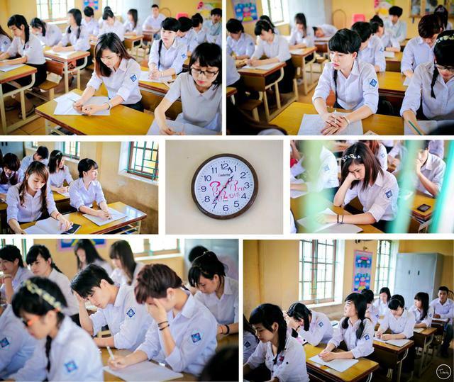 Những bức hình được thực hiện đúng vào ngày bế giảng. Trong buổi lên lớp cuối cùng, các thành viên của lớp không giấu nổi sự xúc động, một chút luyến tiếc khi phải nói lời tạm biệt với mái trường cấp 3.