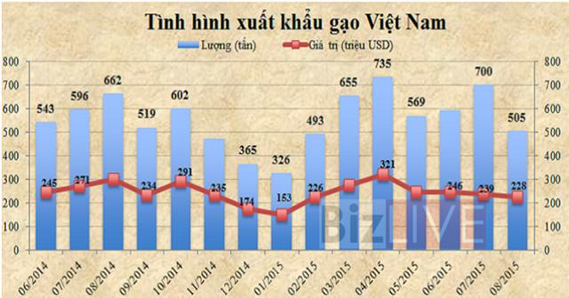 Xuất khẩu gạo của Việt Nam sụt giảm chủ yếu do Trung Quốc hạn chế thu mua.