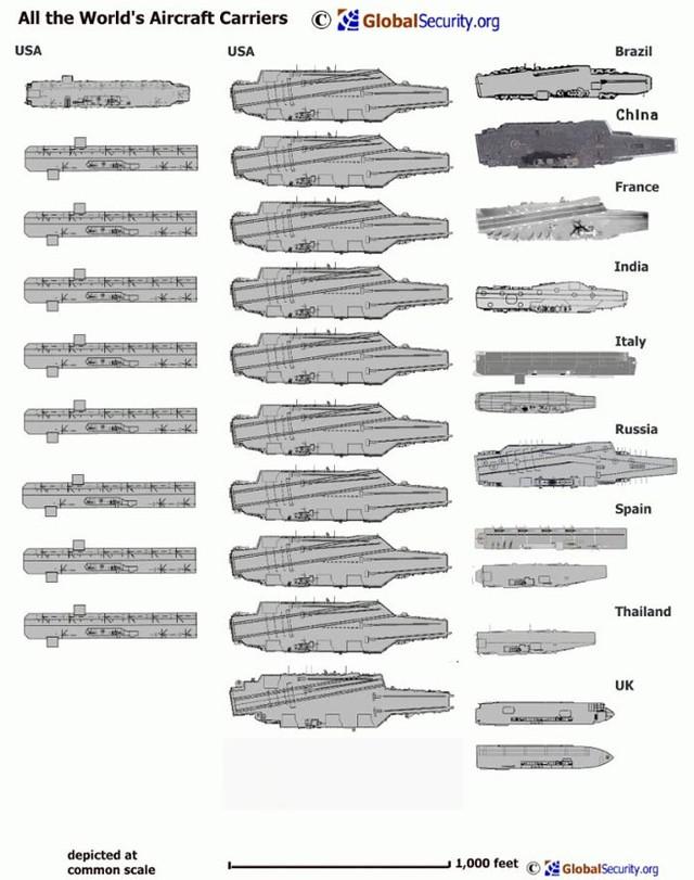 Các ảnh đồ họa trên đã cho thấy kích cỡ tương đối của các hàng không mẫu hạm khắp thế giới.