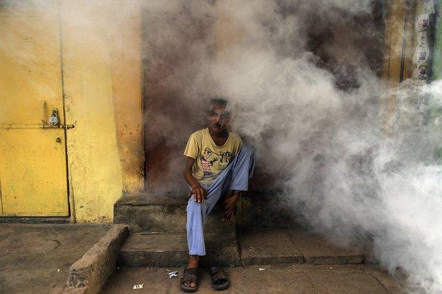 Một cư dân Ấn Độ ngồi trước hiên nhà khi công nhân thành phố đang phun thuốc diệt muỗi gây bệnh ở những khu phố cổ của New Delhi.