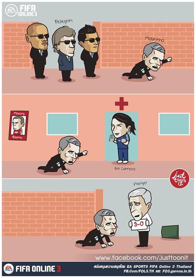 Bất đắc dĩ, Mourinho phải tìm tới bác sĩ Eva Carneiro, người đã bị ông chỉ trích. Người đặc biệt còn bị Wenger trêu chọc trên đường đi.