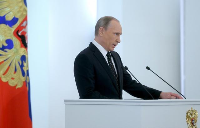 Tổng thống Nga Vladimir Putin đọc Thông điệp Liên bang 2015. Ảnh: TASS