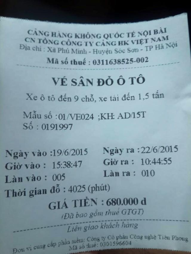 Số tiền anh Dương phải trả cho 3 ngày gửi xe ở Nội Bài