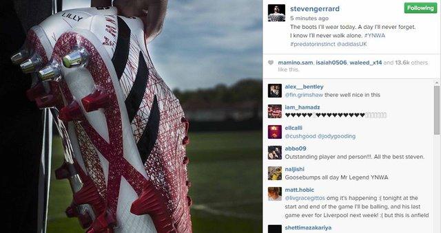 Hình ảnh trên trang cá nhân của Gerrard