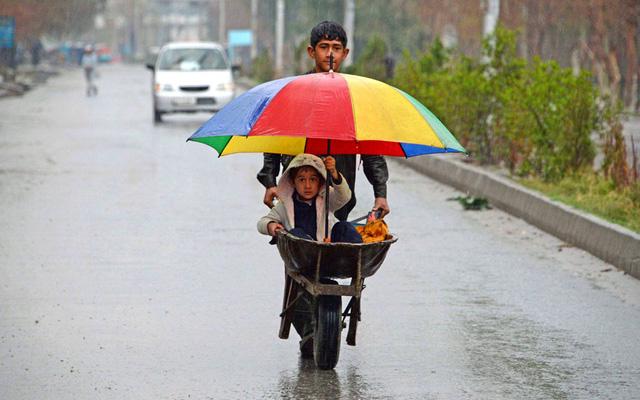 Cậu bé đẩy xe rùa chở em trai dưới trời mưa ở ngoại ô thành phố Jalalabad, Afghanistan.