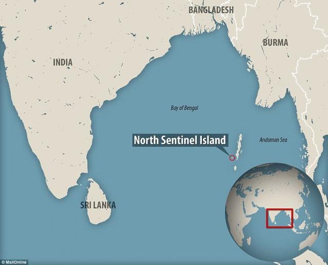 Vị trí đảo Bắc Sentinel từ định vị toàn cầu.