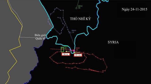 Ảnh đồ họa Thổ Nhĩ Kỳ và Nga công bố về đường đi và tọa độ của chiếc máy bay:Đường đi ra (trái) - vào (phải) và ra của máy bay Nga ở vùng gần với biên giới Syria của Thổ Nhĩ Kỳ - Ảnh: New York Times