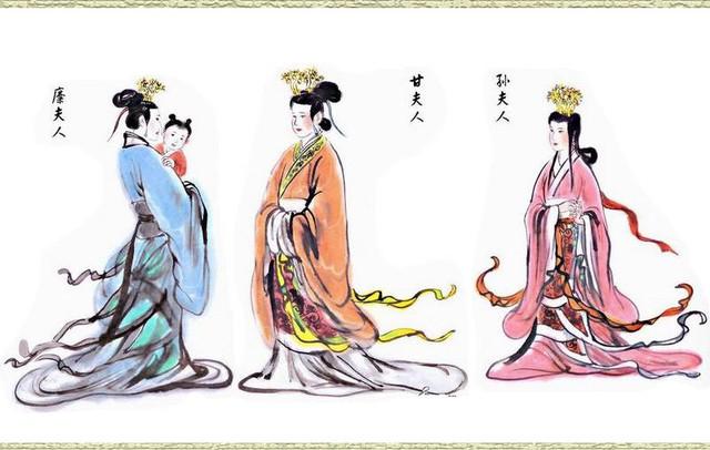 Tranh vẽ ba vị phu nhân của Lưu Bị, từ trái qua phải là Mi phu nhân, Cam phu nhân và Tôn phu nhân.