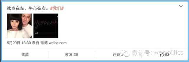 """Một trang web tài chính cũng đã đăng tải hình ảnh của Phạm Băng Băng và Lý Thần kèm theo biểu đồ lên – xuống của thị trường chứng khoán với ghi chú là """"Chúng tôi""""."""