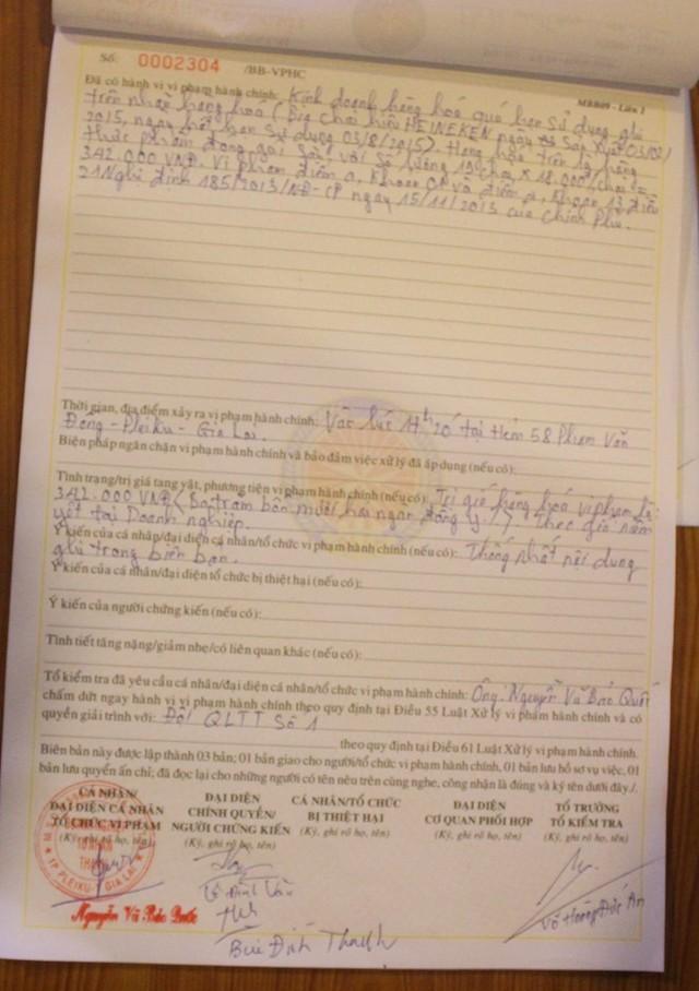 Biên bản xử lý của Chi cục QLTT Gia Lai đối với nhà hàng Thiên Thanh.