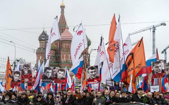 Hàng nghìn người tuần hành để tưởng nhớ cựu Phó thủ tướng Nga Boris Nemtsov ở thủ đô Moscow.