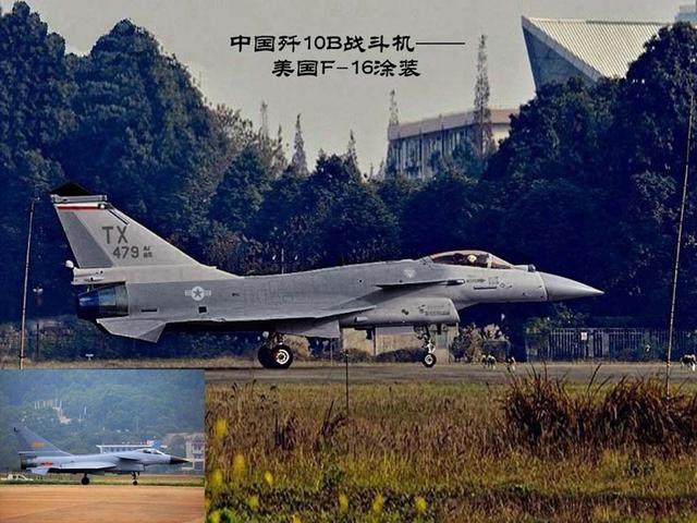 1 chiếc J 10B với màu sơn của F-16.
