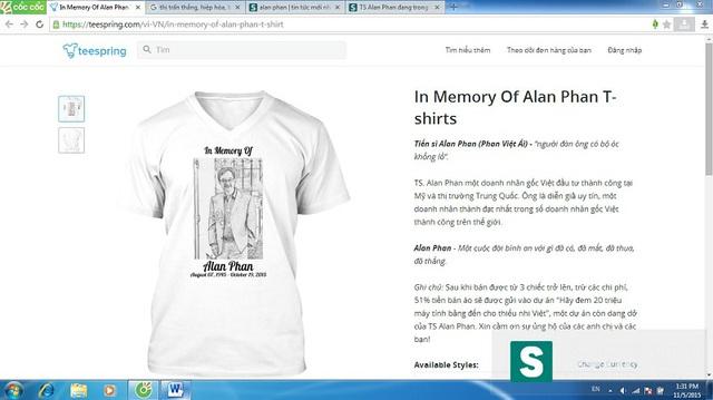 Trang web Teespring.com đăng tải nội dung bán áo in hình ông Alan Phan và thông tin sẽ trích lợi nhuận để thực hiện tiếp dự án mà ông Alan Phan đang dang dở tại Việt Nam. (Ảnh chụp màn hình)