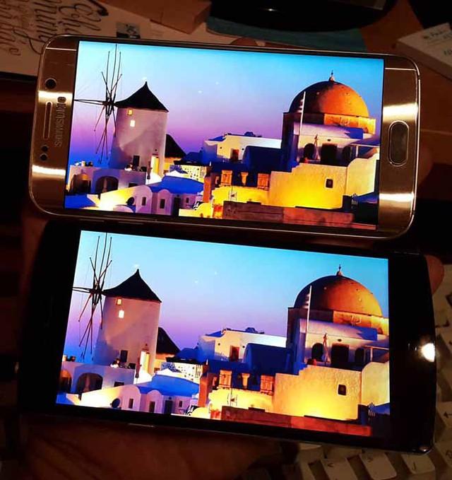 Màn hỉnh Samsung S6 (trên) và Bphone (dưới). Ảnh thành viên cuhiep