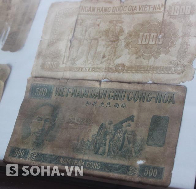Mặt sau tờ tiền mệnh giá 1.000 đồng (trên) và mặt trước tờ tiền mệnh giá 500 đồng (dưới).