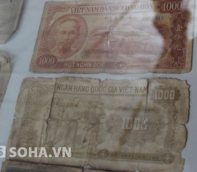 Hai mặt trước (trên) và sau (dưới) của tờ tiền mệnh giá 1.000 đồng.