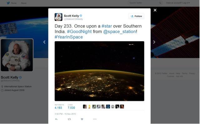 Phi hành gia Scott Kelly đăng tải bức ảnh của mình trên tweet cá nhân