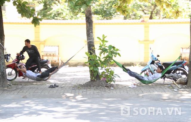 Nhiều phụ huynh đưa con em từ xa đi thi còn mang theo những chiếc võng rồi mắc vào những cái cây để nghỉ ngơi.