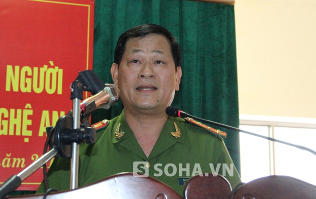 Đại tá Nguyễn Hữu Cầu - Giám đốc công an tỉnh Nghệ An chia sẻ tình tiết vụ án với PV.