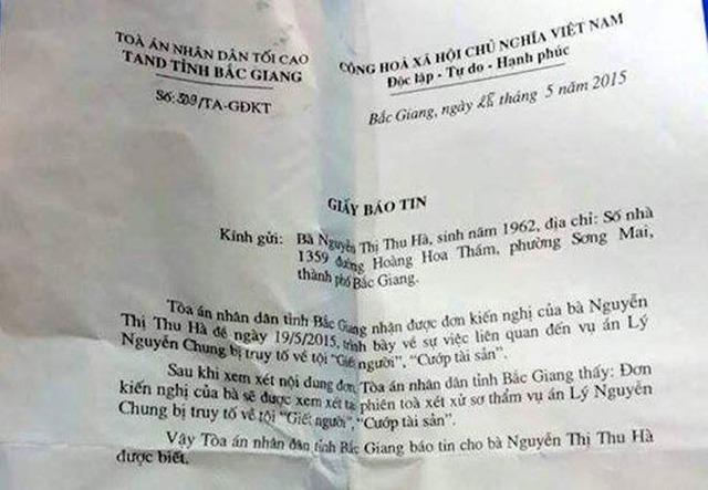 Giấy mời của TAND tỉnh Bắc Giang tới bà Hà với tư cách là nhân chứng