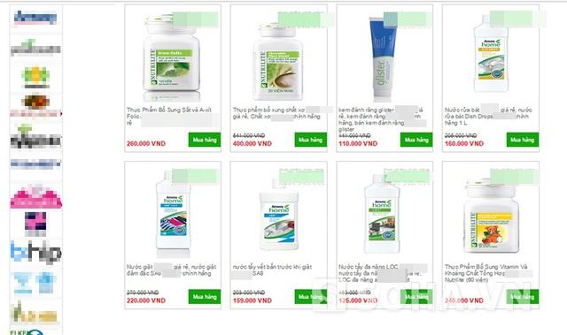 Nhiều sản phẩm của các công ty đa cấp được bán phá giá trên mạng.