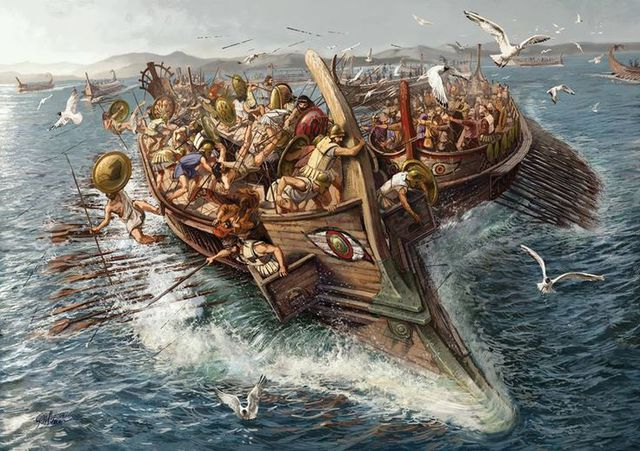Bị trúng kế của Themistocles, hải quân Ba Tư đã tiến vào eo biển Salamis